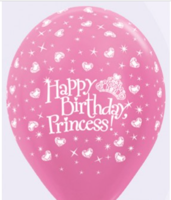 Happy Birthday Princess Hearts Latex Balloon - Brown Sugar Party Boutique