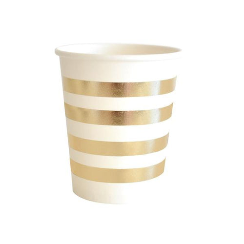 Gold stripe cups 10pk - Brown Sugar Party Boutique