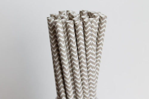 Grey Chevron Straws
