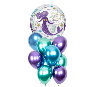 Mermaid wishes orb balloon bunch