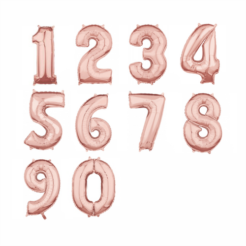 Rose Gold Foil Numbers