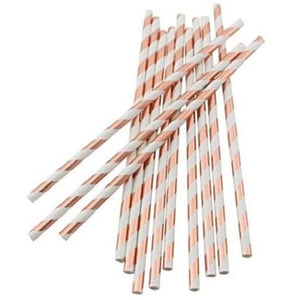 Rose Gold Stripe Straws