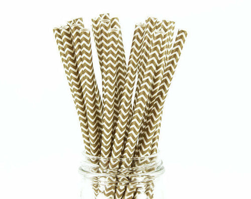 Gold Chevron Straws