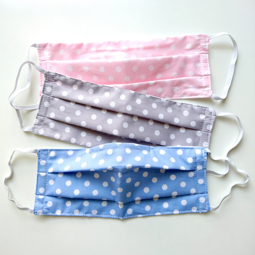 Set of Three Polka Dot Face Masks