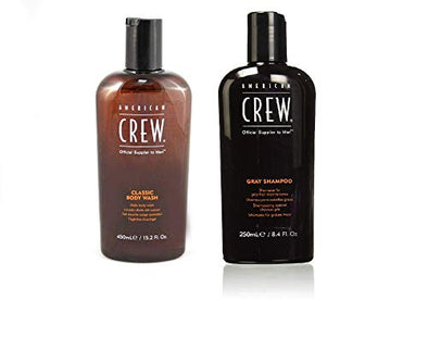 American Crew Body Wash 450 ml + Men Classic Gray Shampoo 250ml/8.45oz