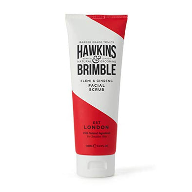 Hawkins & Brimble Mens Facial Scrub 125 ml - Walnut & Almond Pre Skin Face Exfoliator For Men | Pre Shave Lotion
