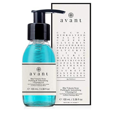 Avant - Purifying Cleanser Gel - Contributes to Smooth Skin, Protect Against Free Radicals & Works Against Hyperpigmentation - Blue Volcanic Stone Purifying & Antioxydising Cleansing Gel - 1x 100ml