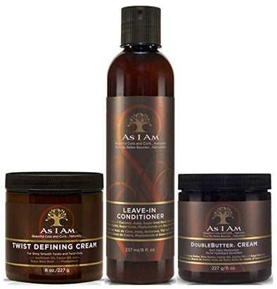As I Am Leave in Conditioner 237ml, Twist Defining Cream 227g & Double Butter Cream 227g