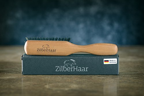 ZilberHaar Beard Brush Pure Boar Bristles Natural Firm Hog Hair and Pearwood Works With All Beard Balms and Beard Oils Exfoliates Skin Helps Softening and Conditioning Itchy Beards Great for Travel