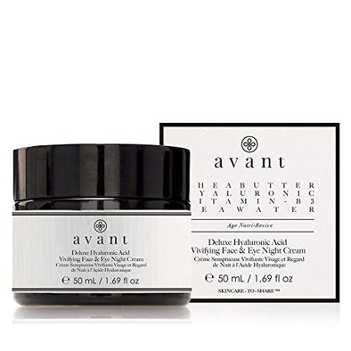Avant - Anti-Ageing Night Cream Face & Eyes - Aims to improve Skin Tone, Rejuvenate Eyes, Diminish Wrinkles & Fine Lines - Deluxe Hyaluronic Acid Vivifying Night Cream - 1x 50ml