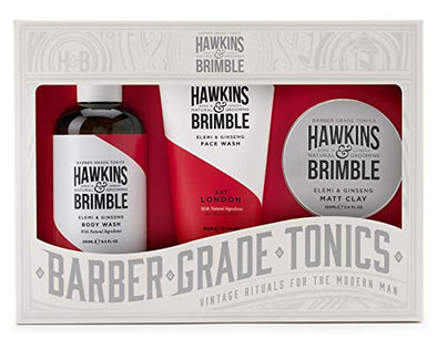 Hawkins & Brimble Root to Tip Gift Set | Contains Body Wash, Face Wash & Matt Clay for hair styling | Made with natural ingredients