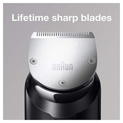 Braun Beard Trimmer BT7040 and Hair Clipper Detail Trimmer and Mini Foil Shaver Attachments Sharp Metal Blades Free Gillette Fusion5 ProGlide Razor Charging Stand Black/Grey, 2 pin plug