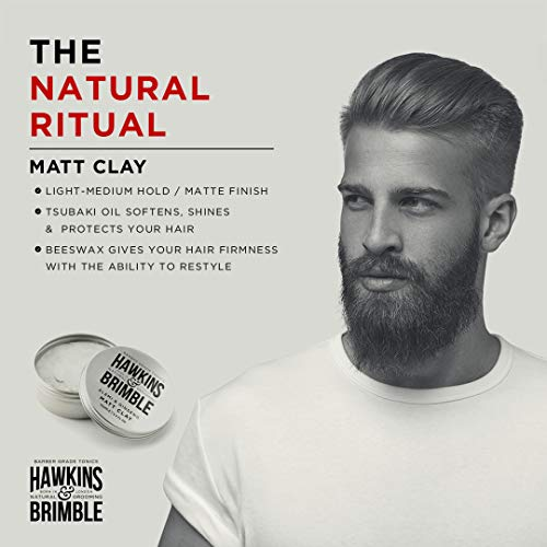 Hawkins & Brimble Matt Clay 100ml/ 3.4 fl oz - Non Greasy Matte Hair Styling For Men | Softens Repairs Allows for Restyling | Naturally Fragranced Awarding Winning Products