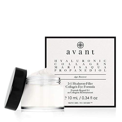 Avant - Anti-Ageing Eye Contour Cream - Aims to Rejuvenate, Hydrate & Soften Eye Area - 3-1 Hyaluron-Filler Collagen Eye Formula - 1x 10ml
