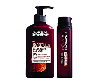 L'Oreal Men Expert Beard Care Kit for Men - Barber Club Beard, Face & Hair Wash Plus Men Expert Barber Club Beard and Face Moisturiser