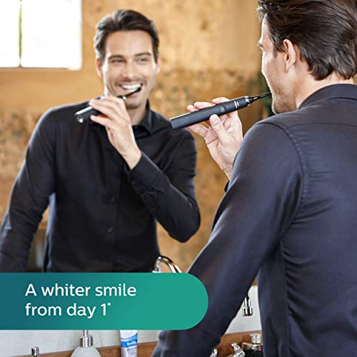 Philips Sonicare DiamondClean Rechargeable Electric Toothbrush, 2019 Edition, Black (UK 2-pin Bathroom Plug with USB Travel Charger)