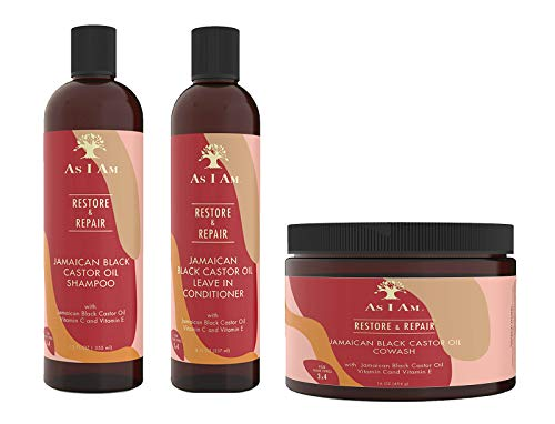 AS I AM JAMAICAN BLACK CASTOR OIL 3 pc Combo(Shampoo, Leave in conditioner, Cowash