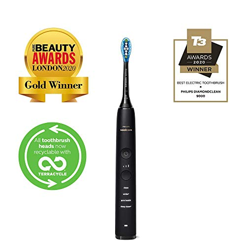 Philips Sonicare DiamondClean 9000 Black Electric Toothbrush, 2020 Edition, 4 Modes, 3 Intensities, Gum Pressure Sensor, App, Connected Handle, USB Travel Case, UK 2-Pin Bathroom Plug - HX9911/39