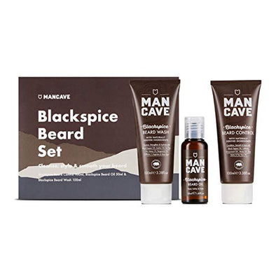 ManCave BlackSpice Beard Gift Set - 3 Beard Grooming Essentials