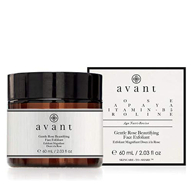 Avant - Rose Facial Exfoliant Peeling Scrub - Helps Soften Skin, Reduce Redness, Improve Radiance and Hydrates - Gentle Rose Beautifying Face Exfoliant - 1x 60ml, black