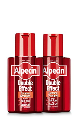 Alpecin Double Effect 2x 200ml | Anti Dandruff and Natural Hair Growth Shampoo | Energizer for Strong Hair | Hair Care for Men Made in Germany