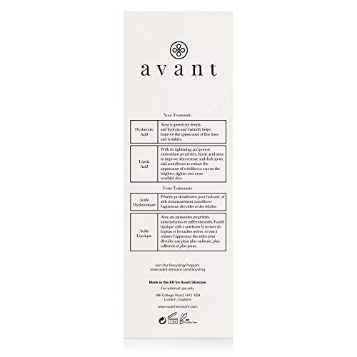 AVANT Hyaluronic Acid Facial Serum - Works Against Ageing, Dark Spots & Hydrates - Eight-hour Anti-Oxidising & Retexturing Hyaluronic Facial Serum - 1x 30ml, 50 gram