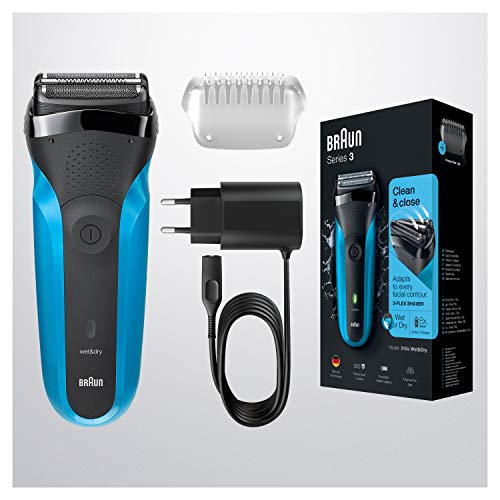 Braun Series 3 310S Wet & Dry Electric Shaver For Men / Rechargeable Electric Razor, Blue
