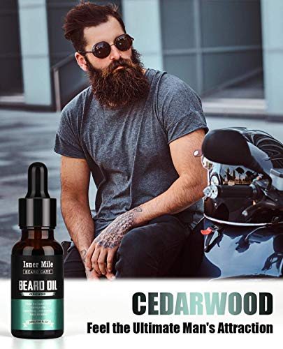 Beard Oil 4 Scents Pack Set, 100% Natural, Cedarwood, Sandalwood, Sage, Sweet Orange for Men Beard Care Growth, Moisturize, Soften, Strengthen, Ideal Perfect Gifts for Men Him Dad Father Boyfriend