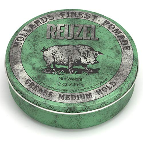 Reuzel Grease Medium Hold Pomade Green Pack of 1 x 12 Oz (340 g))