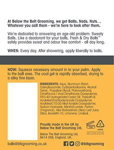 Below The Belt Grooming Fresh & Dry Balls - Intimate Deodorant For Men - Protects against Sweat, Odour and Chafing - Sport Fragrance 2 x 75ml
