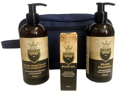 Beard Care Kit - Beard Shampoo 300ml, Beard & face Conditioner 300ml, Beard Oil 30ml & Mens Toiletry bag, Vegan Friendly Products, Not Tested on Animals