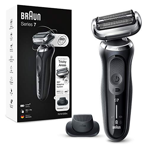 Braun Series 7 Electric Shaver for Men with Precision Beard Trimmer, Wet & Dry, Rechargeable, Cordless Foil Razor, Silver, 70-N1200s