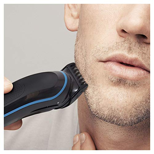 Braun 9-in-1 All-in-One Trimmer MGK5080 Beard Trimmer and Hair Clipper Body Groomer Ear and Nose Hair Trimmer Detail Trimmer Attachment Black/Blue, 2 pin plug