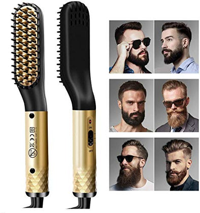 Beard Straightener Comb, Heated Beard Brush for Men, Heated Brush Hair Straightener Brush for Men, Anti-Scald & Auto-Off Safe & Easy to Use, Beard Straightening Comb for Styling, Home and Travel