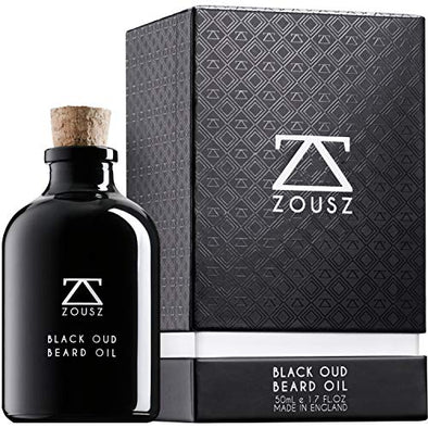 ZOUSZ Beard Oil - Black Oud Wood Scented Grooming Formula with Natural Avocado, Argan, Macadamia Oils - Non-Greasy Facial Hair Softener & Moisturiser for Styling – Vegan-Friendly Gift for Men - 50mL
