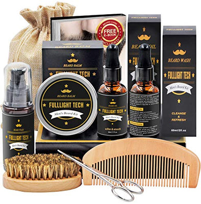 Beard Kit for Men Grooming & Care W/Beard Shampoo Oil Balm Comb Brush Scissor
