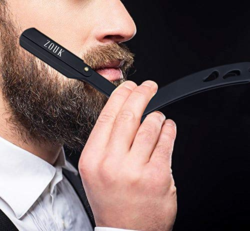 Straight Razor Kit, Cut Throat Razor Kit, All Matte Black Straight Razor, Professional Barber Razor, Premium Quality Straight Edge Razor, Moustache & Beard Shaving Razor, Single Blade Razor, Shavette