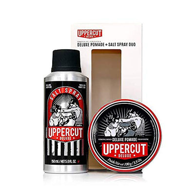 UpperCut Deluxe Pomade 100g & Salt Spray 150ml Gift Set. Strong Hold & High Shine.