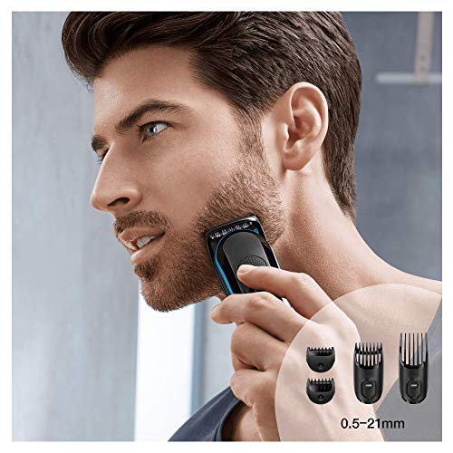 Braun Multi Grooming Kit MGK3040, Black/Blue, 7-In-1 Precision Trimmer for Beard and Hair Styling with Gillette Body Razor