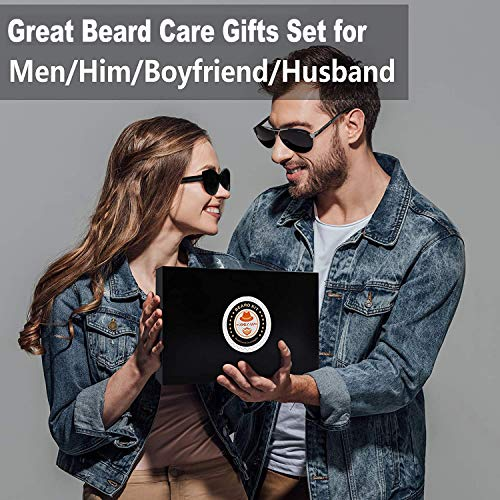 Upgraded Beard Grooming Kit w/Beard Conditioner,Beard Oil,Beard Balm,Beard Brush,Beard Shampoo/Wash,Beard Comb,Beard Shaper,Beard Scissor,Storage Bag,Beard E-Book,Beard Growth Care Daddy Gifts for Men