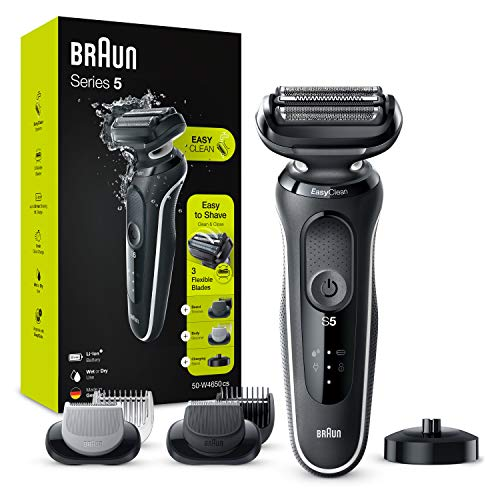 Braun Series 5 50-W4650cs Electric Shaver Men with Charging Stand, 2 EasyClick Attachments, White