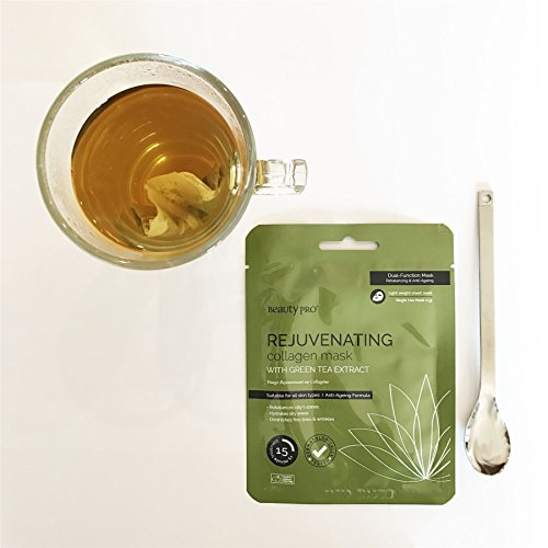BeautyPro REJUVENATING Collagen Sheet Face Mask With Green Tea Extract (23g) | Anti-Ageing & Skin Firming
