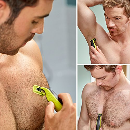 Philips OneBlade Hybrid Body and Face Stubble Trimmer with 4 x Lengths, One Extra Blade and Travel Pouch (UK 2-Pin Bathroom Plug) - QP2630/30