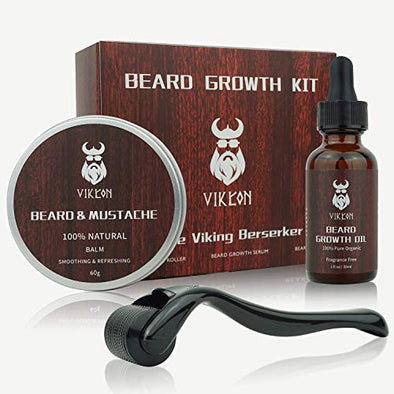Beard Growth Kit, Beard Derma Roller Kit for Men, Patchy Facial Hair Growing Kit, Beard Growth Serum Oil + Beard Balm + Titanium Microneedle Roller, Let it Grow