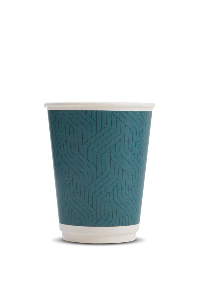 Takeaway Teal Geometric Doubled Wall Cup 12oz (600 per pack)