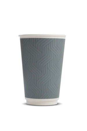 Takeaway Grey Geometric Double Wall Cup 16oz (384 per pack)