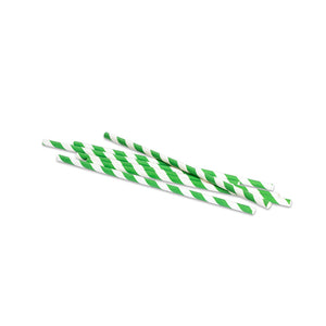Green Stripe Paper Straws x 250