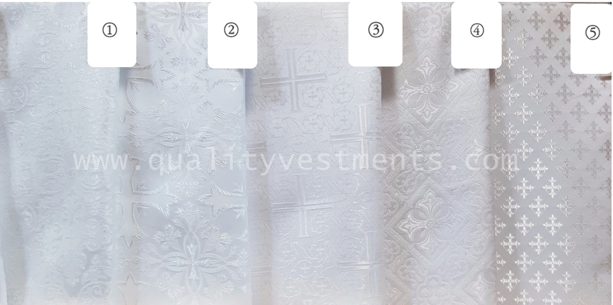 "White Vestment fabric Cross pattern Nonmetallic Liturgical Brocade 59"" wide"