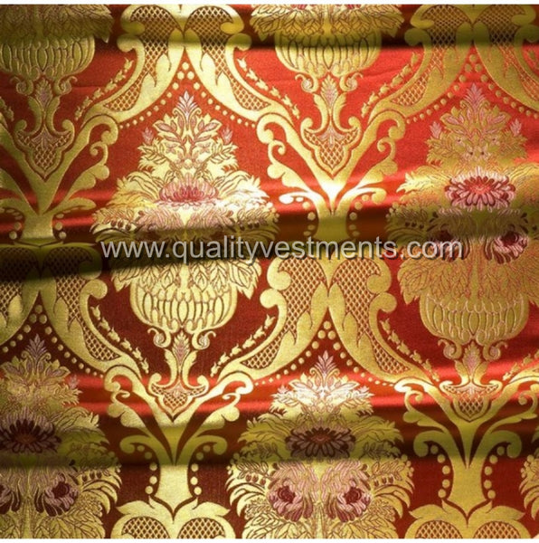 Floral Pattern Metallic Brocade Vestment Fabric Gold Red Green Blue Purple