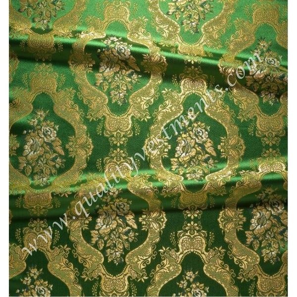 "Green Cross Pattern Brocade for Vestments Nika Metallic thread 59"" wide."
